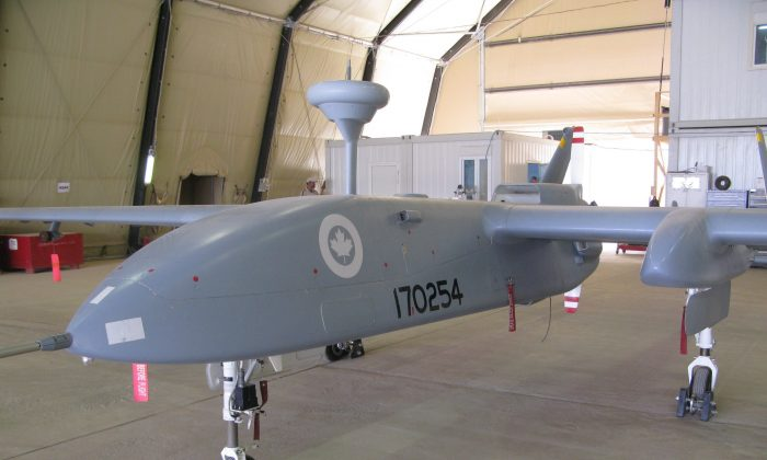 A Heron pilotless spy drone, operated by the Canadian military, sits in a hangar at Kandahar Airfield on July 5, 2010. (The Canadian Press/Bill Graveland)