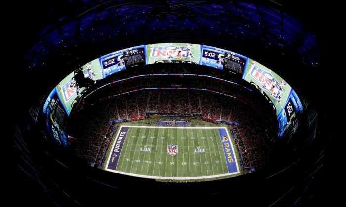 An aerial view inside Mercedes-Benz Stadium in the first half during Super Bowl LIII at Mercedes-Benz Stadium in Atlanta, Georgia, on Feb. 3, 2019. (Kevin C. Cox/Getty Images)
