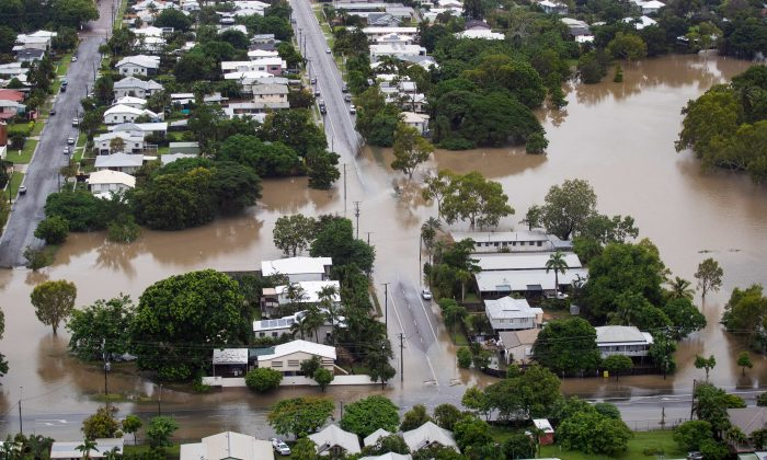 An aerial view shows flood waters in the suburb of Hyde Park, Townsville, North Queensland, Australia, on Feb. 4, 2019. (AAP Image/Dave Acree/via REUTERS)