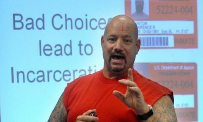 Larry Lawton speaking during his Reality Check program, which aims to keep young people out of prison. (Courtesy of Larry Lawton)