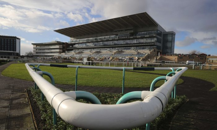 Terraces and stands were empty at Doncaster Racecourse after racing was canceled due to an equine flu outbreak in the United Kingdom on Feb. 7, 2019. (Christopher Furlong/Getty Images)
