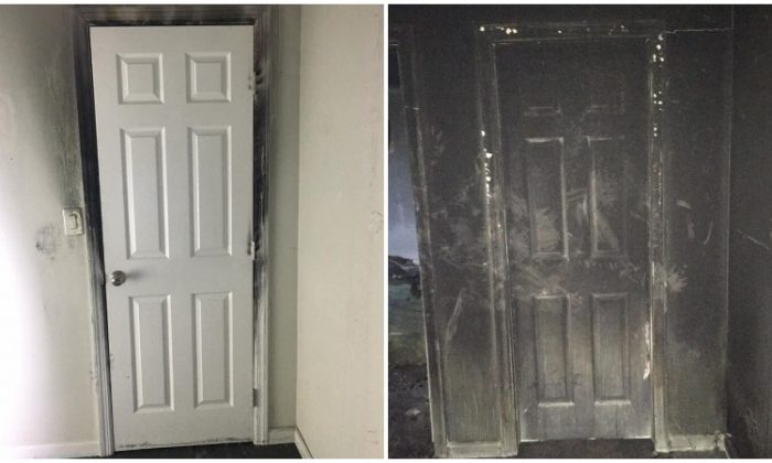 Two pictures of the same door posted on Jan. 29, 2019. (New Fairfield Volunteer Police Department)