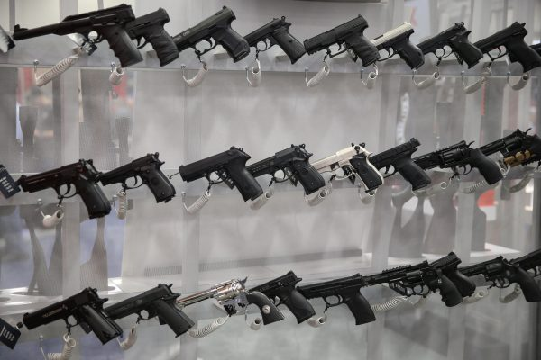 Firearms are pictured