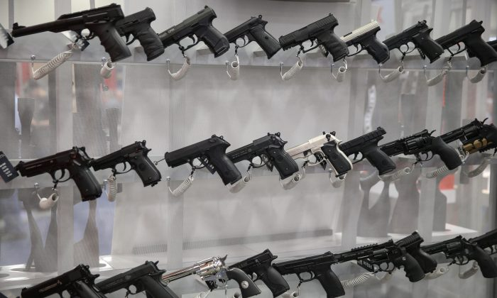 Firearms are pictured in an exhibit hall at the Kay Bailey Hutchison Convention Center during the NRA's annual convention in Dallas, Texas on May 6, 2018. (Loren Elliott/AFP/Getty Images)