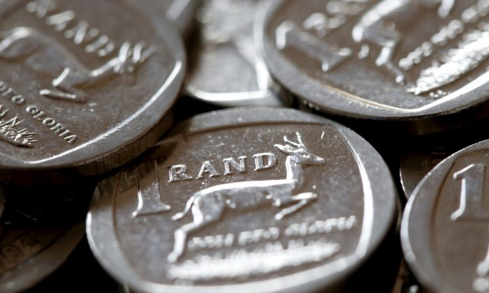 South African Rand coins are seen in this photo illustration taken September 9, 2015.    (Mike Hutchings/Reuters)