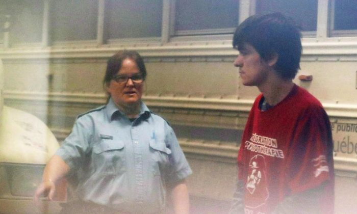 Alexandre Bissonnette (R) will have to serve 40 years in prison before being eligible for parole. (The Canadian Press)