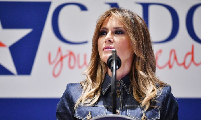 First Lady Melania Trump speaks during the Community Anti-Drug Coalitions of America (CADCA) National Leadership Forum in National Harbor, Maryland, on Feb. 7, 2019. (Mandel Ngan/AFP/Getty Images)
