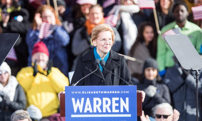 Sen. Elizabeth Warren (D-MA), announces her official bid for President in Lawrence, Mass., on Feb. 9, 2019. (Scott Eisen/Getty Images)