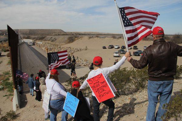 human wall demonstrators