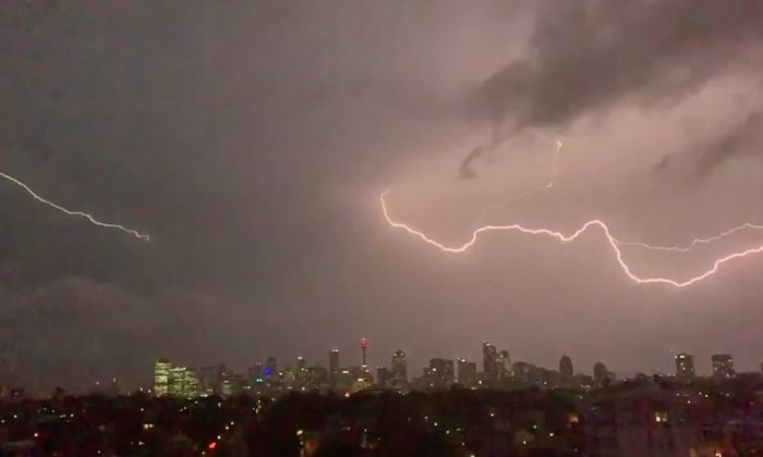 Huge storm clouds and lightning hit the Sydney, Australia, on Feb. 8, 2019. (Reuters)