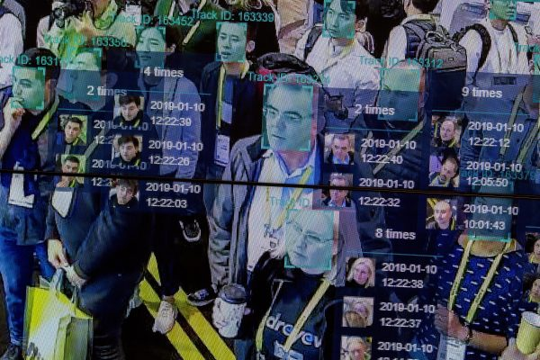 A live demonstration uses artificial intelligence and facial recognition in dense crowd spatial-temporal technology at the Horizon Robotics exhibit at the Las Vegas Convention Center during CES 2019 in Las Vegas