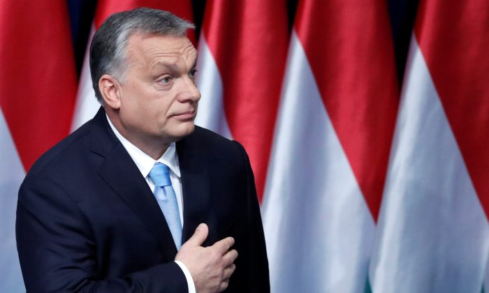 Hungarian Prime Minister Viktor Orbán leaves the stage after delivering his annual state of the nation speech in Budapest on Feb. 10, 2019. (Bernadett Szabo/Reuters)