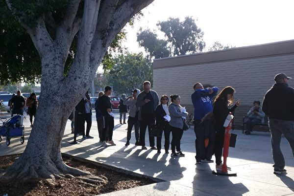 People were seen waiting outside a DMV field office at West Covina, California on Dec. 11, 2018. (The Epoch Times)