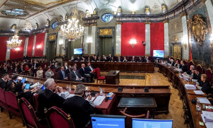 Former Catalan separatist leaders attend their trial at the Supreme Court in Madrid on Feb. 12, 2019. (Emilio Naranjo/AFP/Getty Images)