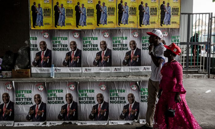 People's Democratic Party (PDP) supporters arrive at the Tafawa Balewa Square in Lagos where the official opposition PDP party holds a rally, on Feb. 12, 2019. (Luis Tato/AFP/Getty Images)