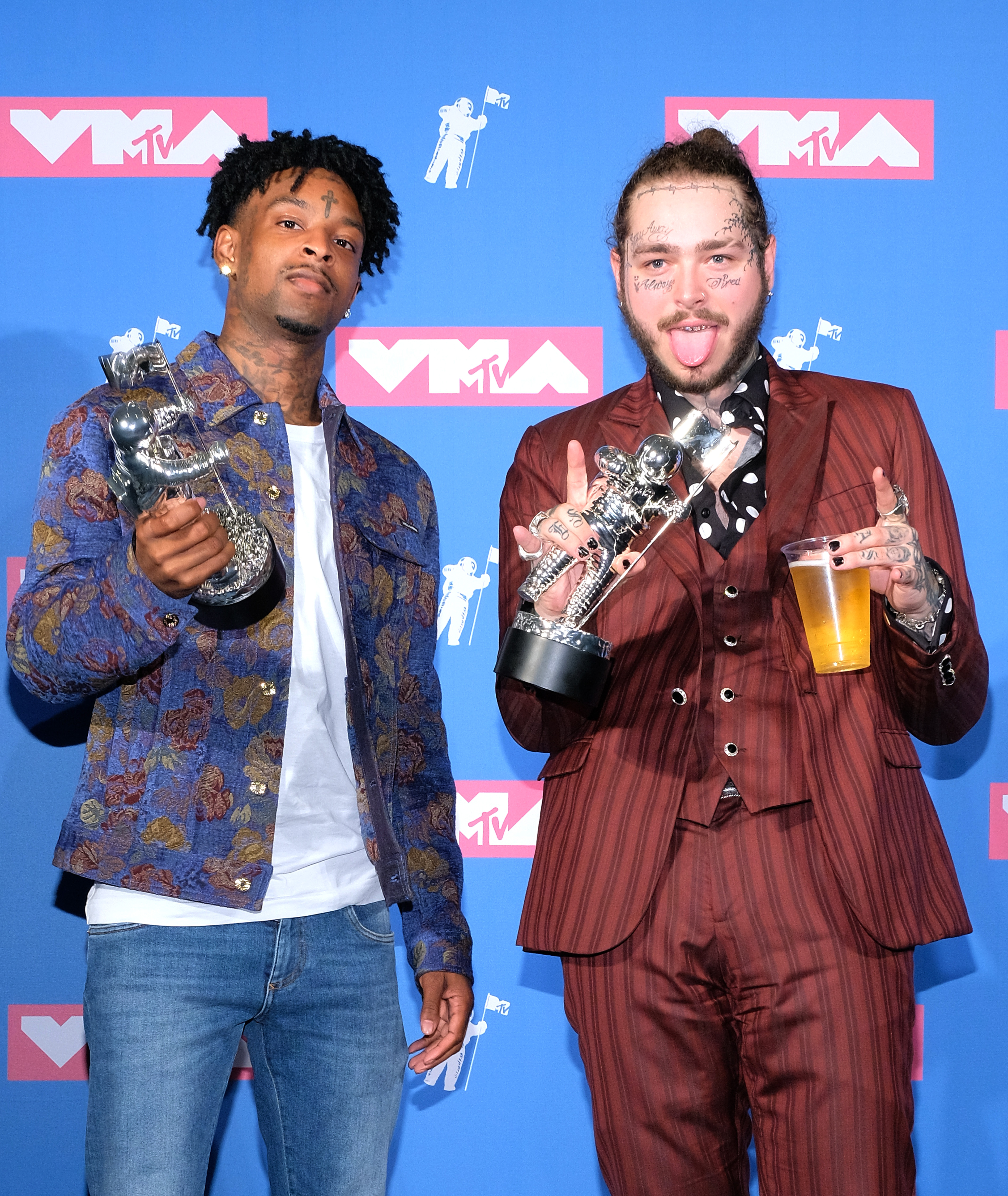 Savage and Post Malone pose with the Song of the Year award
