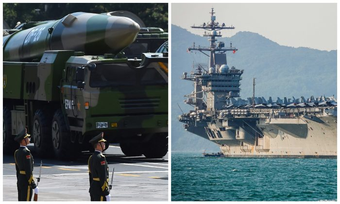 (L) Military vehicles carrying DF-26 ballistic missiles, developed to attack aircraft carriers, in Beijing on September 3, 2015; the United States aircraft carrier, USS Carl Vinson in Danang, Vietnam on March 5, 2018. (GREG BAKER/AFP/Getty Images; Getty Images/Getty Images)