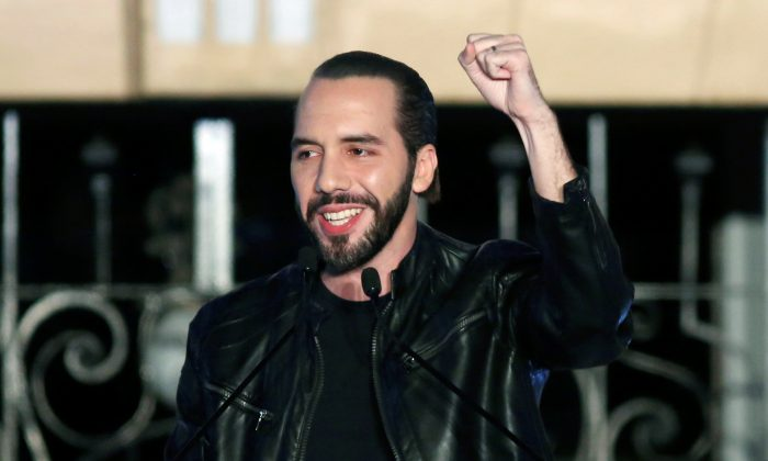 Presidential candidate Nayib Bukele of the Great National Alliance (GANA) gestures to his supporters after official results in downtown San Salvador, El Salvador on Feb. 3, 2019. (Jose Cabezas/Reuters)