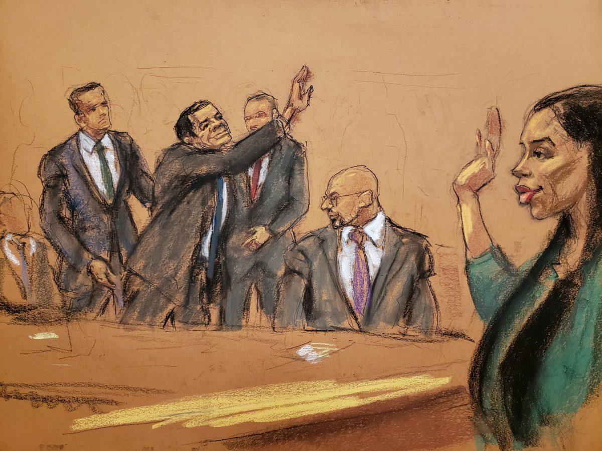 El Chapo in courtroom sketch