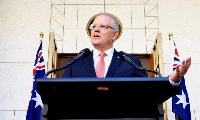 Prime Minister Scott Morrison speaks to media during a press conference at Parliament House in Canberra, Australia, on Feb. 13, 2019. (Tracey Nearmy/Getty Images)
