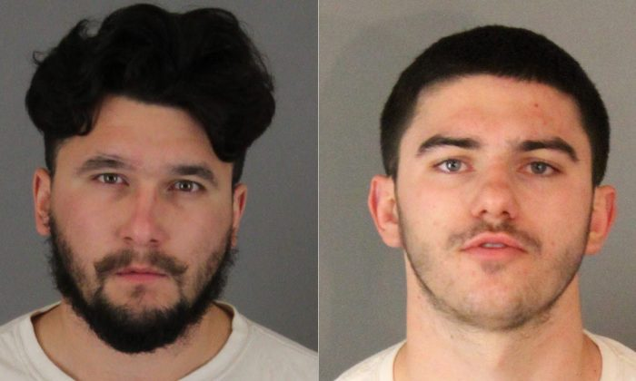 Gary Anthony Shover (L) and Owen Skyler Shover are seen in police booking photos released by authorities on Feb. 12, 2019. (Riverside County Sheriff's Department)