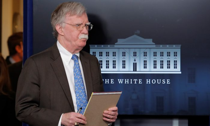 U.S. National Security Adviser John Bolton arrives to address reporters as the Trump administration announces economic sanctions against Venezuela and the Venezuelan state owned oil company Petroleos de Venezuela (PdVSA) during a press briefing at the White House in Washington, U.S. on Jan. 28, 2019. (Jim Young/Reuters)