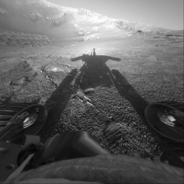 The shadow of the Mars Exploration Rover Opportunity