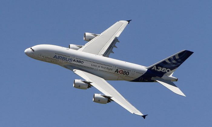 An Airbus A380 performs during a demonstration flight at the 49th Paris Air Show at Le Bourget airport, east of Paris, on June 26, 2011. (Francois Mori/AP)
