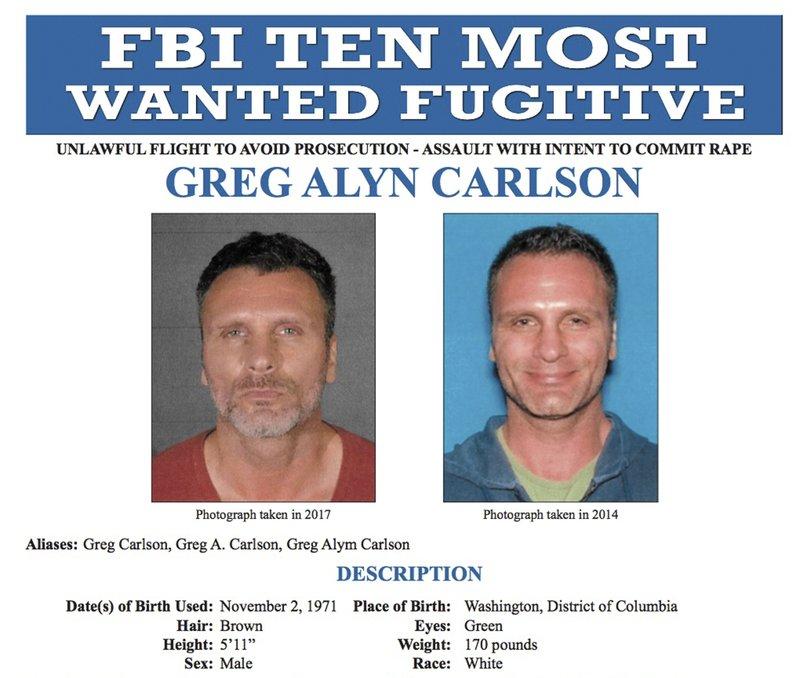 FBI shows an FBI wanted poster of Greg Alyn Carlson