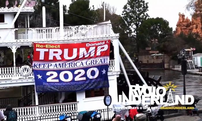 """A banner reading """"Re-elect Trump"""" and """"Keep America Great!"""" was unfurled at Disneyland in Anaheim, Calif., on Feb. 13, 2019, leading to the banning of a guest. (Image from Radio Underland YouTube video of incident)"""