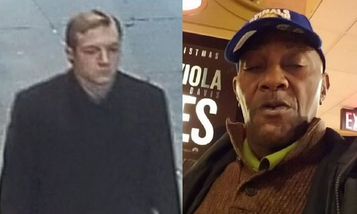 James Harris Jackson in a still from surveillance footage, and his victim Timothy Caughman, 66, in a file photo. (NYPD)