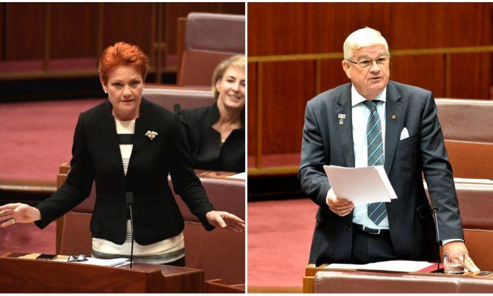 (L) Senator Pauline Hanson  in the Senate at Parliament House in Canberra, Australia on Nov. 27, 2018. (Tracey Nearmy/Getty Images) (R) Senator Brian Burston addressing the Senate at Parliament House in Canberra, Australia on Nov. 28, 2017. (Michael Masters/Getty Images)
