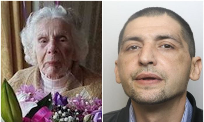 Sofija Kaczan (L) who died on June 6, 2018 aged 100, following a violent mugging on May 28, 2018 by Artur Waszkiewicz (R). (Derbyshire Police)