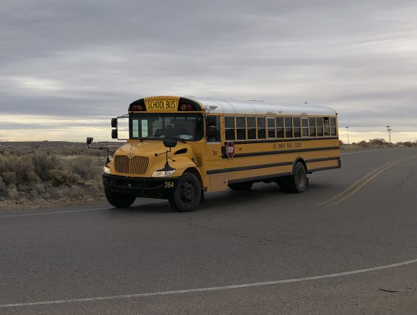 A school bus evacuates students