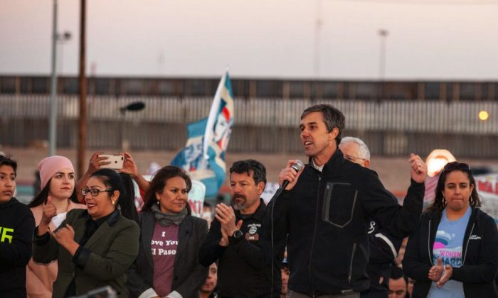 Beto O'Rourke addresses the crowd at a rally in El Paso, Texas, on Feb. 11, 2019. (Christ Chavez/Getty Images)