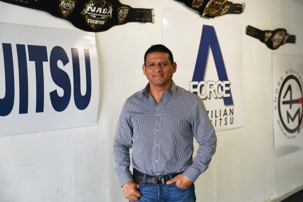 Juan Andres Martinez in his martial arts gym in Eagle Pass