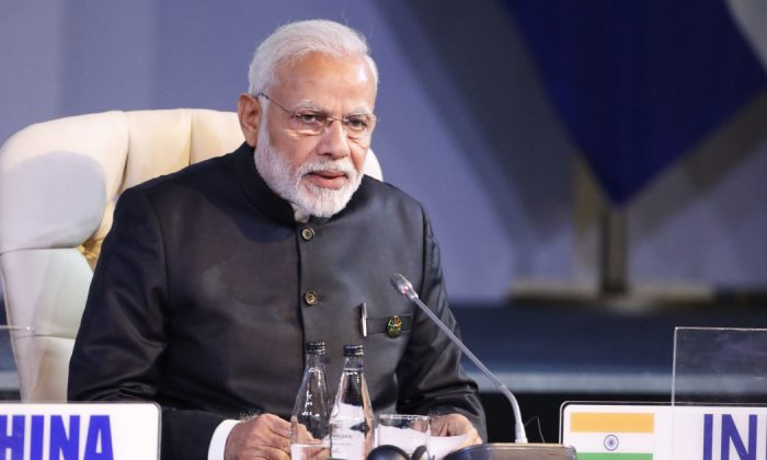 Indian Prime Minister Narendra Modi attends the 10th BRICS summit in Johannesburg, South Africa on July 27, 2018. (Mike Hutchings/AFP/Getty Images)