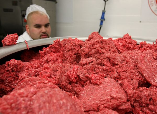 employee at a meat packing plant
