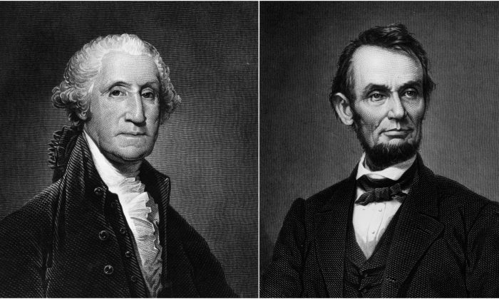 George Washington, the 1st President of the United States of America and Abraham Lincoln the sixteenth president of the United States. Hulton Archive/Getty Images