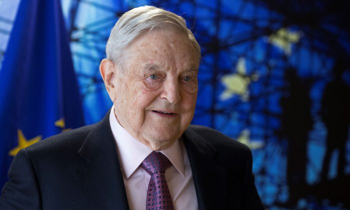 George Soros, Founder and Chairman of the Open Society Foundations arrives for a meeting in Brussels on April 27, 2017.  (Olivier Hoslet/AFP/Getty Images)