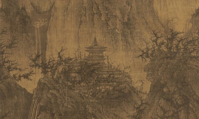 """""""A Solitary Temple Amid Clearing Peaks"""" by Li Cheng. Hanging scroll with ink on silk, 44 inches by 22 inches. The Nelson-Atkins Museum of Art, Kansas City, Mo. (Public Domain)"""