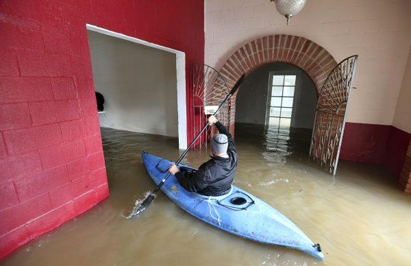 flooded Surrey restort