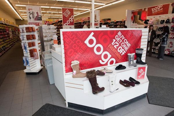 A general view of the inside of the store at Payless ShoeSource