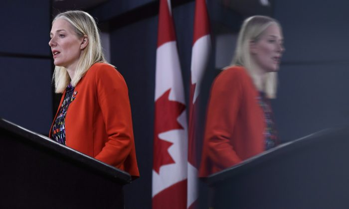 Minister of Environment and Climate Change Catherine McKenna speaks during a press conference in Ottawa on Dec. 20, 2018. The decision on a proposed multibillion-dollar nuclear-waste storage bunker near Lake Huron now appears certain to fall to Canada's next government. (The Canadian Press/Justin Tang)