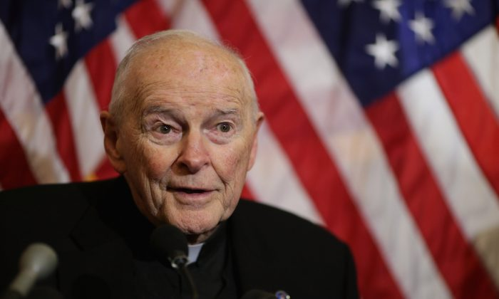 Former Cardinal Theodore McCarrick, archbishop emeritus of Washington, speaks during a news conference with senators and national religious leaders at the U.S. Capitol December 8, 2015 in Washington. (Chip Somodevilla/Getty Images.)