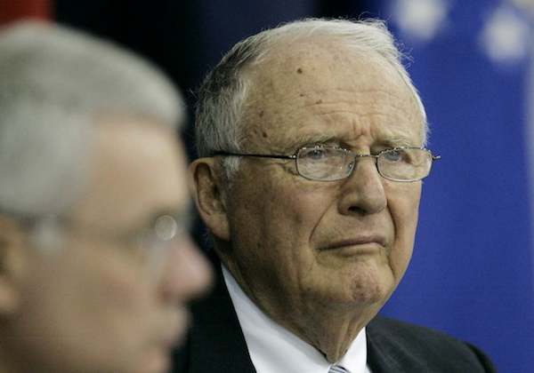 John O. ''Jack'' Marsh, Army Secretary during the Reagan administration and co-chairman of the independent review group, meets with officials at Walter Reed Army Medical Center to discuss their findings, in Washington. On April 11, 2007. (AP Photo/Haraz N. Ghanbari)