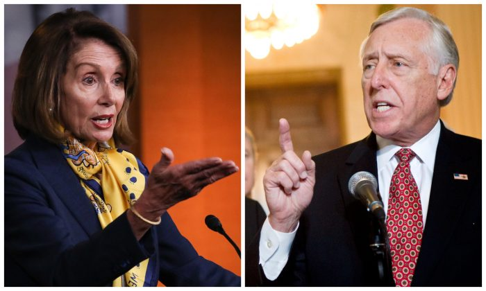Speaker of the House Nancy Pelosi (L); House Majority Leader Steny Hoyer. (Charlotte Cuthbertson/The Epoch Times; Brendan Smialowski/Getty Images)