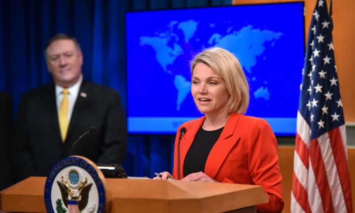 State Department spokesperson Heather Nauert introduces Secretary of State Mike Pompeo during the release of the 2017 Annual Report on International Religious Freedom on May 29, 2018, at the US Department of State in Washington. (Mandel Ngan/AFP/Getty Images)