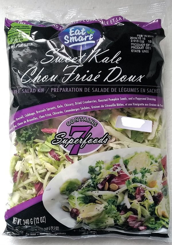 Certain Eat Smart brand Sweet Kale Vegetable Salad Bags are being recalled due to possible Listeria contamination.(Canadian Food Inspection Agency)