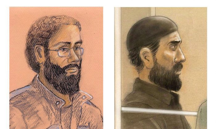 Artist sketches of Chiheb Esseghaier and Raed Jaser, are shown. The two men were found guilty of terrorism charges after being accused of plotting to derail a passenger train. They are asking Ontario's highest court to grant them a new trial, arguing the jury that convicted them was improperly selected. (The Canadian Press/Tammy Hoy, John Mantha)